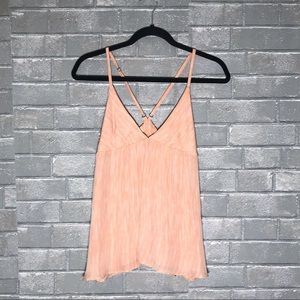 Alice & Olivia pink blush silk babydoll tank top